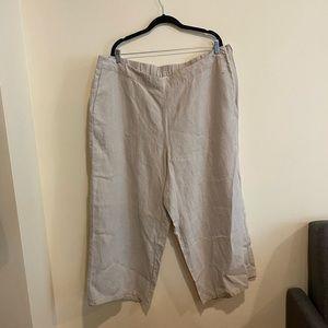 J.Jill FLAX 100% Linen Cream wide leg Pants size3X